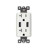 20 Amp. Dual USB Charger with 20A Duplex Tamper Resistant Receptacle