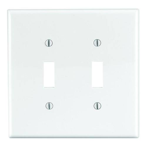 2 Gang Toggle Switch Plastic Wallplate, Standard size