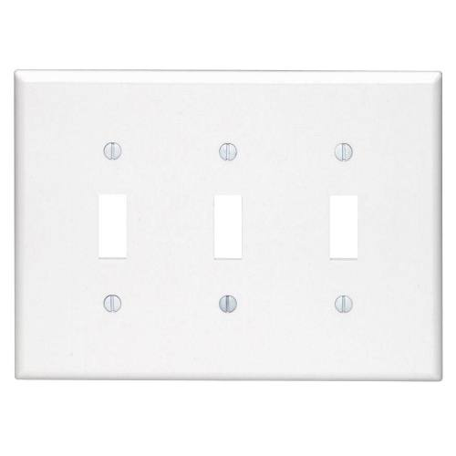 3 Gang Toggle Switch Plastic Wallplate, Standard size
