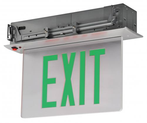 led edge lit exit sign recessed mount battery backup greenclear