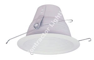 6'' White Stepped Baffle Airtight Cone Recessed Trim