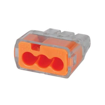 PC25301-ORANGE PUSH IN CONNECTOR 3 HOLE- 500 PCS.